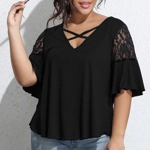 Plus size black lace detail blouse